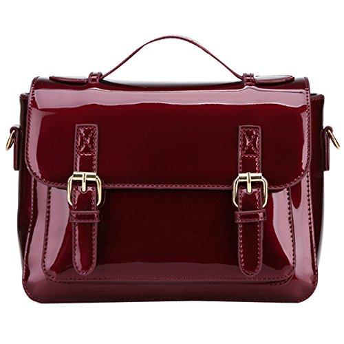 c008c6bc00c43 Milya Klassische Elegante Mode Neue Lackleder Handtasche Schultertasche  Umhängetasche mit Reissverschluss und Magnetverschluss für Damen Mädchen