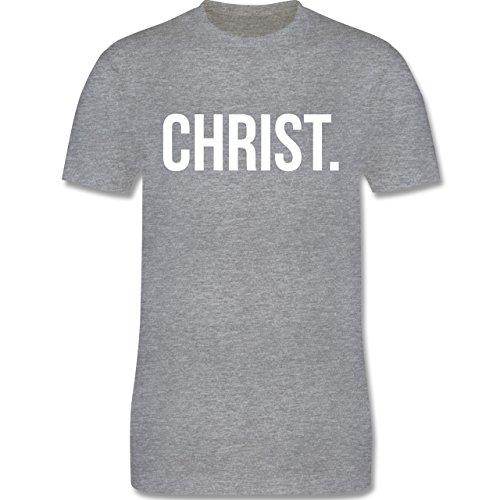 Statement Glaube Religion - Jesus Christ weiss - Herren T-Shirt Grau Meliert