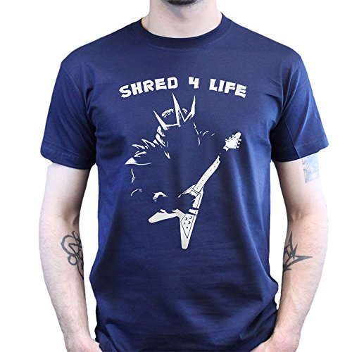 Shred for Life Gitarre Heavy Metal T-shirt Navy Blau