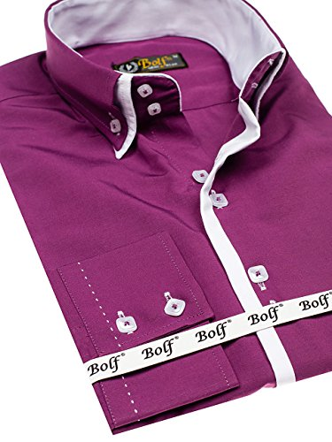 Bolf Herren Hemd Elegant Langarm Farbwahl Knopfleiste Casual Style 2B2 MIX Purpurrot_1721