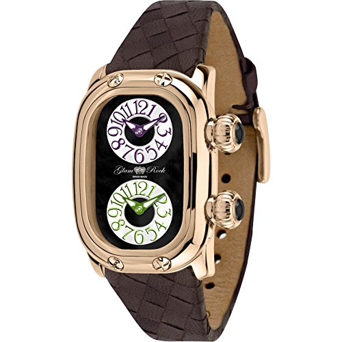 Glam Rock Women's Monogramme Brown Leather Band Rose Gold Plated Case Swiss Quartz Analog Watch GR72408N