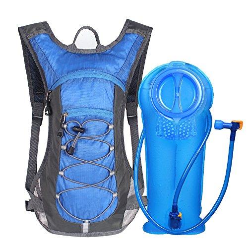 Unigear Trinkrucksack Hydrationspack mit 2L Trinkblase Fahrradrucksack für Joggen, Wandern, Radfahren, Camping und Bergsteig (1*Blau+2L Trinkblase) -