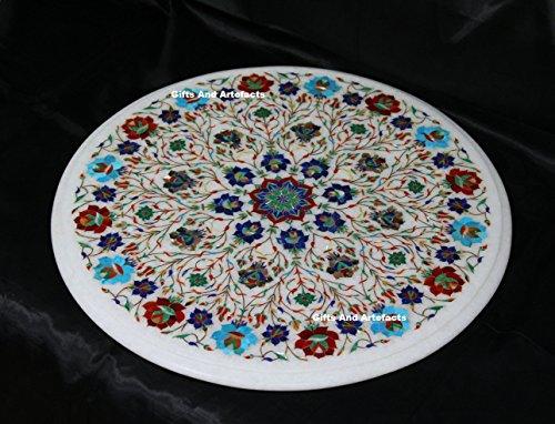 Gifts And Artefacts 45,7cm rund weiß Marmor Sofa Tisch Top mit Luxus Masterpiece Inlay Multi Steine - Marmor Top Sofa Tisch