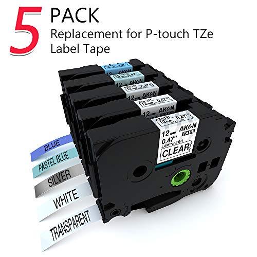 Kompatibel 12mm TZe TZ Schriftband für Brother P-touch PT Beschriftungsgerät Ptouch h105 2430 d400 1005 cube - Farbband schwarz auf Blau, Hellblau, Transparent, Silber, Weiß, 5er-Packung
