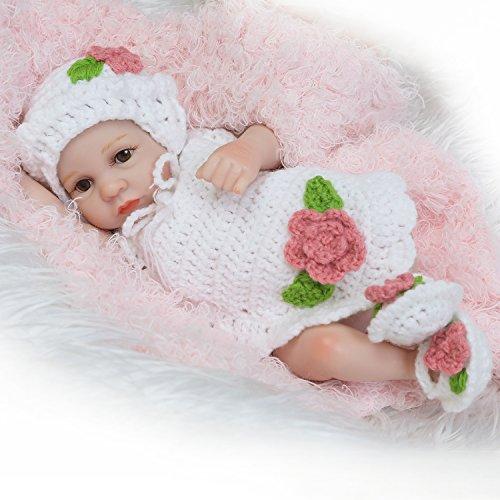 Pursue Baby Bathable Ganzkörper lebensecht Preemie Baby Doll Girl anatomisch korrekt, 10 Zoll kleine Babypuppe wie echt