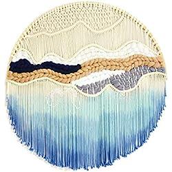Tapiz de Macrame circular tejido a mano y teñido