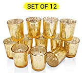 #2: TIED RIBBONS Set of 12 Golden Mercury Votive Tealight Candle Holders for Diwali Home Décor and Corporate Diwali Gifts(Glass, 7.5 cm X 6 cm)