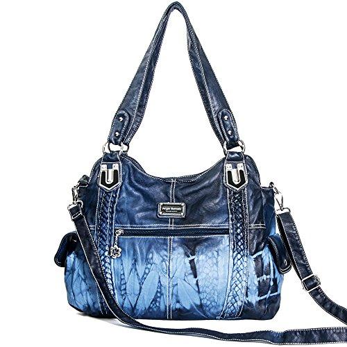 Angel Barcelo Geldbörsen und Handtaschen für Frauen Damen Umhängetasche Designer Tie Dye Satchel Fashion Totes für Mädchen (0044-Blau)