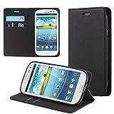 ECENCE Funda para el Samsung Galaxy S3 i9300 S3 Neo i9301 Libro Cover Wallet Case-s Bolsa Negro...
