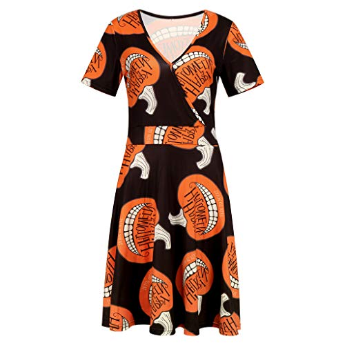 SEWORLD Halloween Frauen Kurzarm V-Ausschnitt Druck Vintage Kleid Partykleid Festliche Brautjungfernkleider für Hochzeit Cocktailkleid Knielang Abendkleide Halloween Kostüm(Orange,EU-42/CN-2XL)