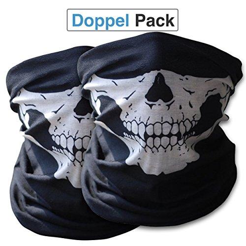 Preisvergleich Produktbild 2x Hochwertige Multifunktionstuch | Sturmmaske | Bandana | Schlauchtuch | Halstuch mit Totenkopf- Skelettmasken für Motorrad Fahrrad Ski Paintball Gamer Karneval Kostüm Skull Maske