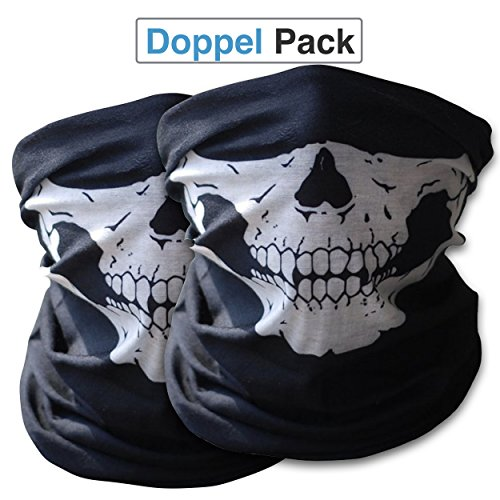 2x-Hochwertige-Multifunktionstuch-Sturmmaske-Bandana-Schlauchtuch-Halstuch-mit-Totenkopf-Skelettmasken-fr-Motorrad-Fahrrad-Ski-Paintball-Gamer-Karneval-Kostm-Skull-Maske