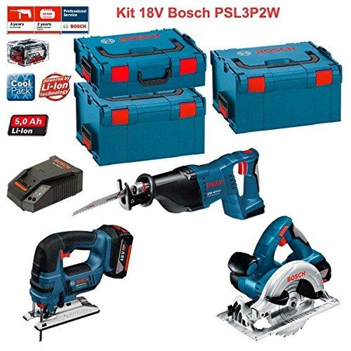 Preisvergleich Produktbild Kit Bosch PSL3P2W (GSA 18 V-LI + GST 18 V-LI + GKS 18 V-LI + Ladegerät AL1860CV + 2 Akkus 5,0 Ah + Koffer L-Boxx 136 + 2 x Koffer L-Boxx 238)