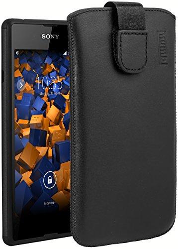mumbi Echt-Leder Tasche kompatibel mit Sony Xperia E3, (Lasche mit Rückzugfunktion, Ausziehhilfe), schwarz