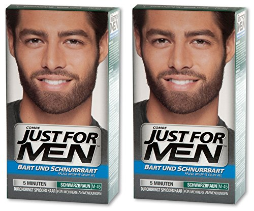 JUST FOR MEN Brush-In-Color-Gel für Bart und Schnurrbart, 2er Pack (2 x 28,4g) (2er Pack, Schwarzbraun)