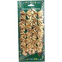 Decorazioni Natalizie 12 Oro con Mini Raso Natale Nastro Fiocchi Ornamenti