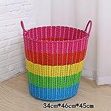 BADEZIMMER-STAUBSCHEIBE-EISBEHÄLTER-KASTEN-KASTEN MIT SCHAUMSTOFF-PLASTIK-STAUB-WARENKORB-KORB-KORB-KORB ( Farbe : Pink Blue Rainbow Color , größe : 34*46*45cm )