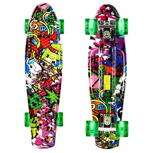 """Hiriyt Mini Cruiser Skateboard Retro Komplettboard - 22\"""" 55cm Vintage Skateboard Für Anfänger Jugendliche Und Erwachsene - 4 Ledteile Erleuchten Das Glatte Pu Rad"""