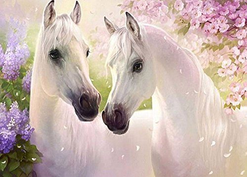 Jamicy DIY Two Horse 5D Diamond Embroidery Painting Cross Stitch Craft Home Decor