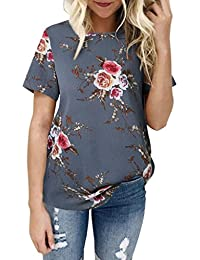 Gaddrt Women Ladies Sexy Casual Floral Printing T-shirt Short Sleeve Tops Blouse Red Gray Pink