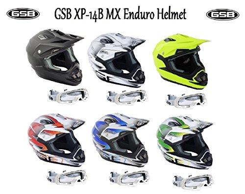 Adulti caschi moto gsb xp-14b mx casco motocross off road quad atv enduro casco sportivo acu, ece, nero opaco + x1 bianco occhiali (m)