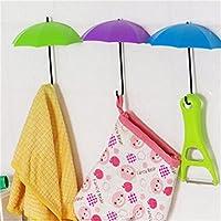 UEETEK 3pcs paraguas decorativos pared gancho riel llaves gafas bolsa organizador del sostenedor (Verde + púrpura + azul)