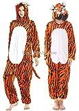 Erwachsene und Kinder Unisex Einhorn Tiger Lion Fox Onesie Tier Schlafanzug Cosplay Pyjamas Halloween Karneval Kostüm Loungewear (Tiger, M passt Höhe 155-165cm)
