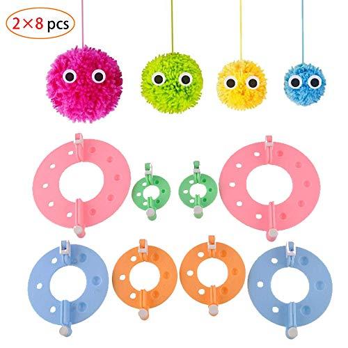16 pcs 4 Größen Fluff Ball Weaver Nadel Pompom Maker Sets,DIY Pompoms Handwerk Puppe Making Kits -Wool Garn Knitting Handwerk Werkzeug Set Pom-Pom Maker für Kinder & Kinder oder Erwachsene - Pom-pom Kit Maker