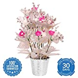 #3: PG Creations Roses Flower Bunch Artificial Flower Plant with Plastic Vase Pot ( Size 38 cm | Pink White Silver )