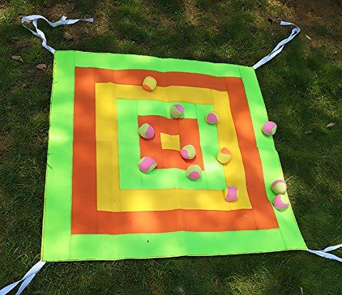 OOFIT Garden Games, Dartscheibe Wurfscheibe mit Klettband, 1M*1M, für drinnen und Outdoor, Übergroß, Kindergarten und Garden mit 4 Bälle