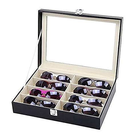 Asvert Boîte de Lunettes Coffret à Bijoux Présentoir en Cuir PU Plateau Elegant, Noir (8 lunettes)