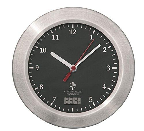 Mebus Funk Wanduhr Aluminium Saugnäpfe Thermometer Uhr 17 cm Funkuhr Badezimmeruhr (schwarz)