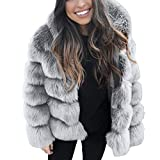 Qmber Faux Pelz Mäntel Damen Pelzmantel Felljacke Jacke warme Plüschmantel lose Teddyfell Parka Elegant Luxus Kunstpelz Faux Kunstfell Overcoat Mink Coats Winter Hooded Thick Outerwear (GY,X-Large)