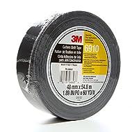 3M Cloth Gaffers Tape 6910 Black, 48 mm x 54.8 m 12.0 mil (Pack of 1) by 3M