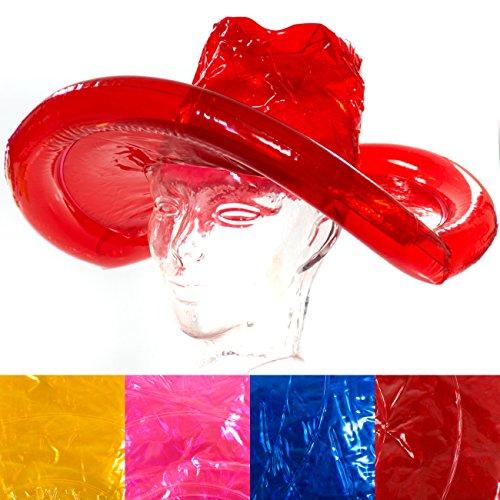 Aufblasbarer Cowboy- Hut, 4 Farben- Rot Blau Pink Gelb, Cowboyhut, Karneval, Party, Junggesellenabschied (gelb)