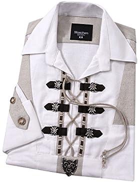 Top-Quality Trachtenhemd Herren Langarm/Kurzarm/Schlupfhemd mit Edelweiß Komfort in Baumwolle Weiß
