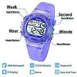 Kinder Digitaluhr für Jungen Mädchen Sport Draussen LED 50M Wasserdichte Multifunktions Armbanduhr mit Alarm für Jungen,Mädchen,Kinder,Studenten(Helles Lila)