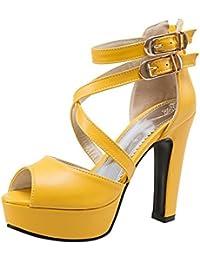 RAZAMAZA Mujer Classic tacones altos Gladiador Sandalias Plataforma Chunky fiesta Zapatos