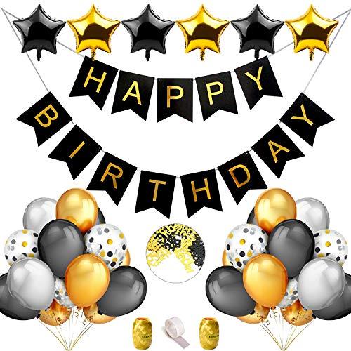 iZoeL Geburtstag Party Dekoration Schwarz Gold Silber für Männer Happy Birthday Girlande Ballons 40 Konfetti Luftballons Tisch Deko ()