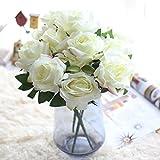 Longra Wohnaccessoires & Deko Kunstblumen Künstliche Rose Silk Blumen 5 Blüte Blatt Garten Dekoration DIY Rosa Blume (B1: 1 Strauß 7 Köpfe)