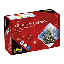 Idena 8325066 LED Fairy Lights with 200 LEDs in Warm White with 8 Hour Timer Function, Indoor and Outdoor Use for Parties, Christmas, Decoration, Wedding, Mood Light, Approx. 27.9 m