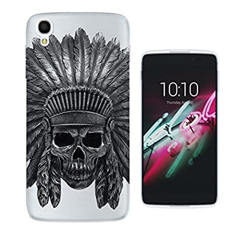 c0500 - Indian Skull Headdress (No Background) Design ALCATEL ONE TOUCH IDOL 3 (5.5'') Fashion Trend Protecteur Coque Gel Rubber Silicone protection Case Coque