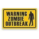 2 x 20cm/200 mm Avvertenza focolaio zombie Vinile adesivo STICKER ADESIVO da viaggio per portatile auto bagagli segno Fun #9223