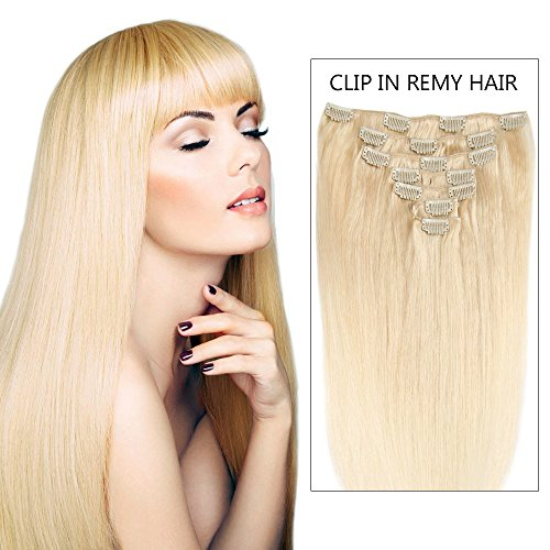 hot-sales-14-clip-in-hair-extensions-real-human-hair-bleach-blonde-613-7pieces-70grams14inch-7pcs-70