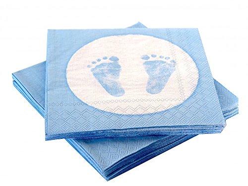 20 Servietten Babyfüße Fußabdruck Hellblau Taufe Geburt Junge Babyparty