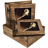 Grueso 75er álbum ambos lados plegable y 100hojas Visitas en cofre de madera
