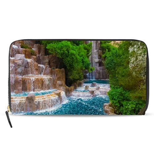 Eomya Damen Geldbörse mit langem Reißverschluss, Wald, Wasserfall, Stein-Reißverschluss, große Kapazität, Kartenhalter
