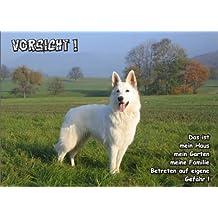 Türschild FunSchild SE706 DIN A5 aus hochwertigem Alu-Dibond beschriftet sehr stabil ACHTUNG Hund Weißer Schweizer Schäferhund