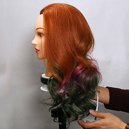 Training Heads Hairdressing 100% Real Human Hair Blonde Mannequin Styling Dolls Head (Table Clamp Holder Included) EHA2718P