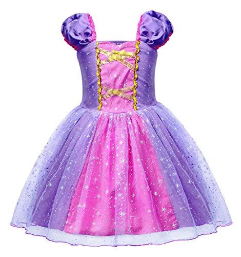 AmzBarley Prinzessin Rapunzel Kostüm Kinder Mädchen Tutu Verrücktes Kleid Kleider Halloween Cosplay Kleidung Geburtstag Party Ankleiden Karneval Zeremonie Hochzeit Abendkleid, Lila 03, 3-4 Jahre (Halloween-kostüme Für Mädchen Drei)